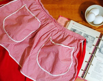 Adorable Reversible Vintage Red Gingham Half Apron