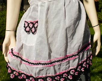 Sheer Vintage Apron with Crochet Trim