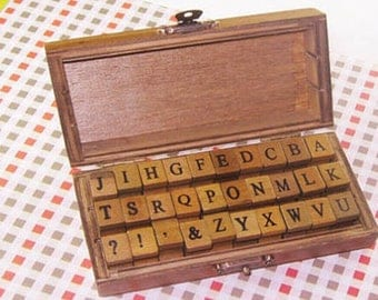 Alphabet Letter Rubber Stamps - Capital Letters Diary Stamp Set - Vintage Wooden Box - 30pcs