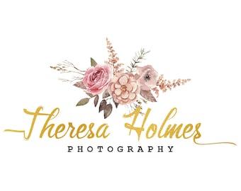 Floral watercolor logo, gold foil logo, flower logo design, photography logo, watercolor flowers, branding template, calligraphy logo,