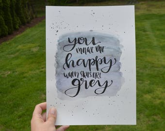 Grey Skies quote painting