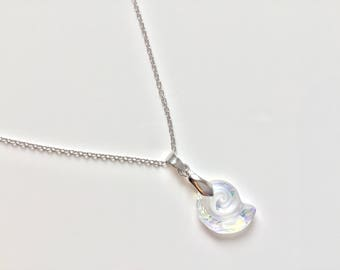 Sterling Silver Swarovski Sea Snail Necklace 18 inches / 45 cm