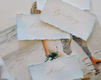 Wedding Place Cards, Watercolor Pale Blue