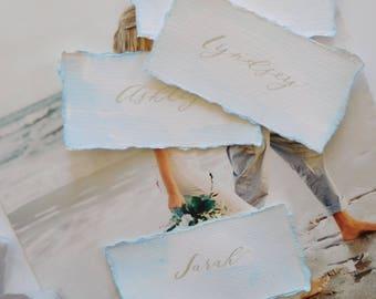 Wedding Place Cards, Watercolor Pale Blue