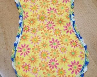 crocheted burp cloth flowers