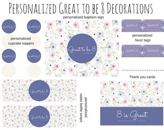 Personalized LDS Baptism Decorations, Great to be 8 Decorations, Girl Baptism Decorations