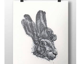 Hare-brushed - Letterpress art print