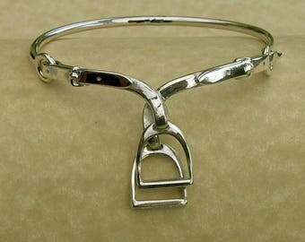 Double Stirrup & Leathers Bangle in Hallmarked sterling silver.