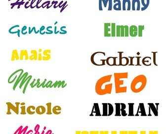 Personalized Vinyl Name Decal Sticker, Any Name Decal, Any Word Decal, Custom Vinyl Decal, Name Decal, Vinyl Name Decal, Label, Name Sticker