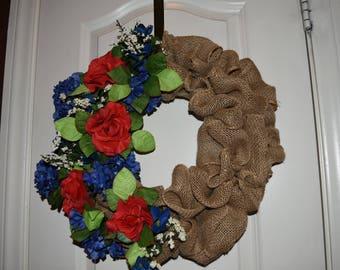 """14"""" Patriotic Burlap Red Wreath"""