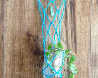 Turquoise Macrame & Driftwood plant rooter + Crystal