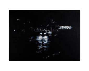Street/ Car Scene, London- Giclee print from original painting. Trending; Black & White art by Lubna Speitan