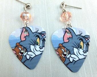 Cartoon Kitty Cat Guitar Pick Earrings, Tom & Jerry