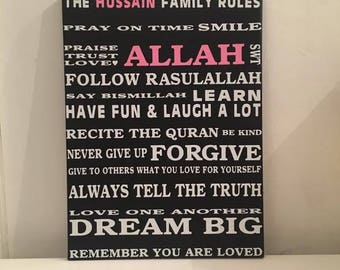Islamic Muslim personalised house rules canvas