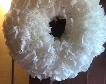 Coffee Filter Wreath, White Coffee Filter Wreath, Coffee Filter Summer Wreath ,White Coffee Filter Door Wreath.