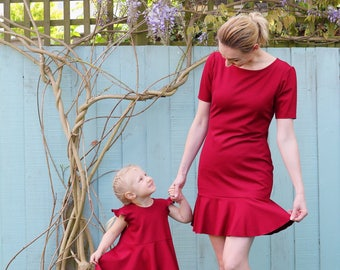 Mother and Daughter Matching Dress Set, Red
