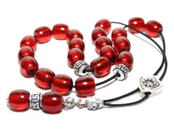 Worry Beads, Greek Komboloi, Cherry Red color, Round Barrel Beads, Relaxation, Meditation, Gift for Men, Meandros design, Tesbih