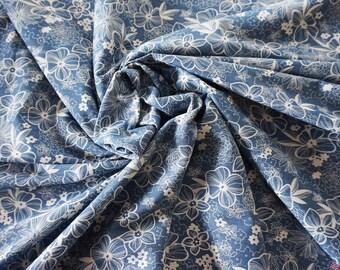 Wild Flowers 4oz Printed Denim Fabric - Light Blue