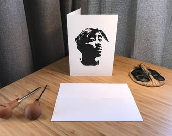 Handprinted Linocut Tupac Greeting Card