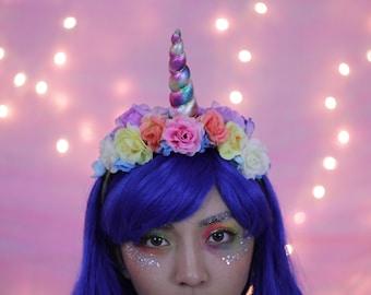 Unicorn Party Rainbow Unicorn Floral Headband for Adults