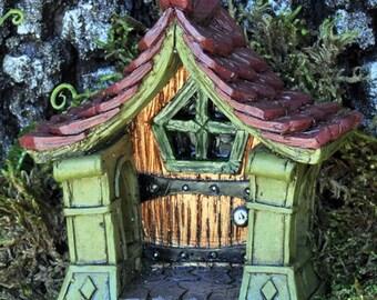 Fairy garden Fiddlehead copper fairy door