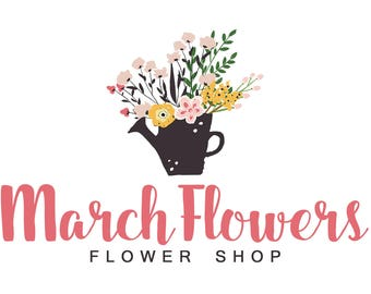 Watercolor Logo Design, Business Logo, Florist Logo, Flower Shop Branding, Calligraphy Logo, Floral Shop Logo, Floral Watercolor, Pink