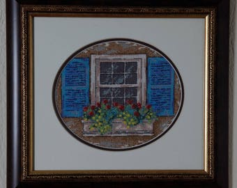Framed Needle Work Wall Decor Picture  35x32 cm Window