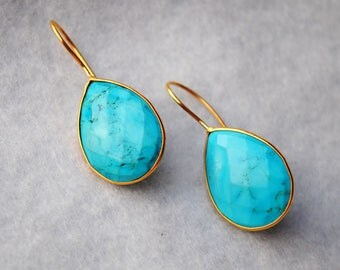 Turquoise Earings. Sterling Silver & 18K Gold Plated Earrings. Semi Precious Stone Danglers. Almond Teardrop Gemstone. December Birthstone