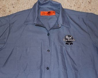 Large Pabst Mechanic's Shirt-Retro Beer