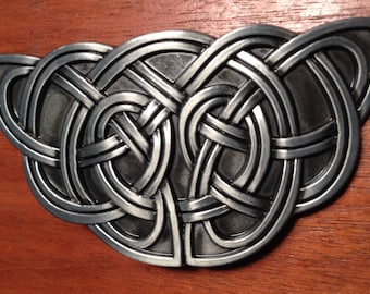 Triquestra Knots Black Silver Belt Buckle