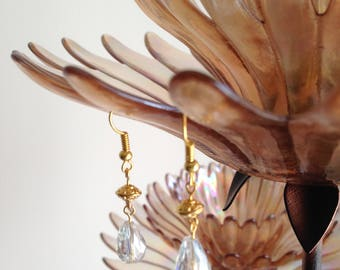 Golden Hook with Golden Antique Style Carving Bead With Rock Crystal Drop Earring