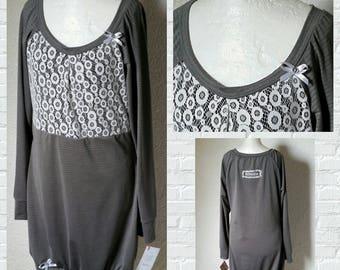 Sweater dress grey white tip loop Hoodie Hoodiekleid balloon dress pullover dress stripes