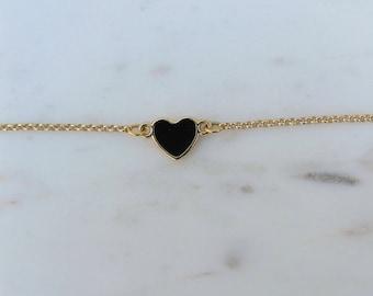 Heart bracelet - deep black / gold