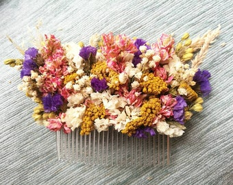 Vibrant, colourful dried flower hair comb. Large.