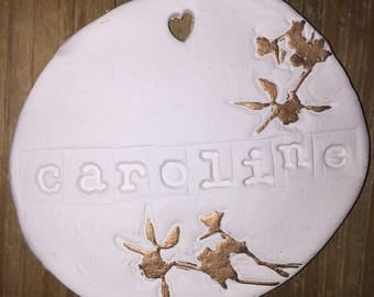 Personalised clay decoration wedding favour made tovorder