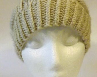Handmade S/M Bars  Slouchy Hat. Cream/Oatmeal Color