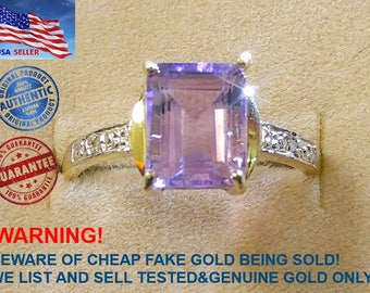 NEW Solid 10KT Yellow Gold 2.2CT Natural Genuine Amethyst&Diamonds Ring W/Gift Box For Women