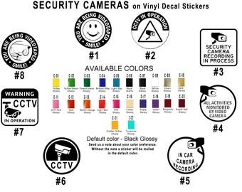 Security Camera Vinyl Decal Stickers Car Window House Office CCTV Recording Protect Business Video