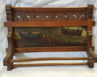 Antique Towel Bar with Oil on Canvas