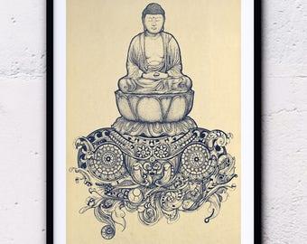 Buddha, Buddha drawing and illustration doodle, zen Buddha, zen decorating, wall decoration, beautiful zen poster for the room