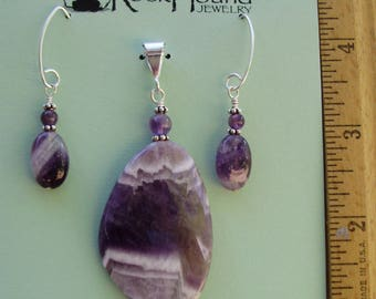Amethyst and Sterling Earring and Pendant Set