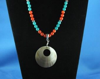 Shell Pendant, Orange Tiger Eye, Blue-Green Semi Precious Stones,Pewter