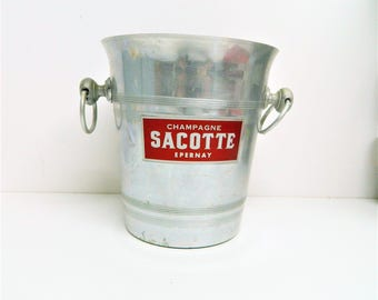 Vintage French, Metal Sacotte Champagne Ice Bucket, Wine Cooler, celebration barware for parties, wine cooler for a party, Sacotte Epernay,