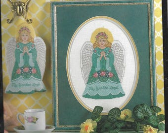 BUCILLA Guardian Angel - Vintage Cross Stitch KIT for Ornament or Picture of an Angel, OOP 1995 Kit - Unused Kit