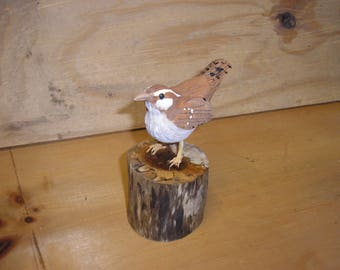 Wood Carving of a Wren