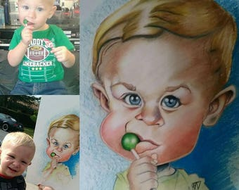 I usually do Events and parties drawing live caricatures, also I do custom made paintings(framed and on canvas).