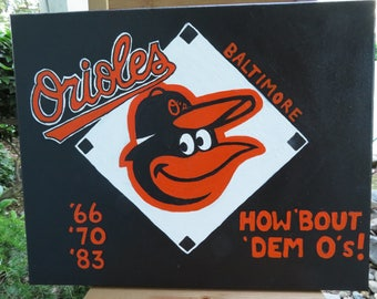 "Baltimore Orioles Logo Art Hand Painted on Canvas 16""x20"" - Sports Team Wall Art - Handmade Gift - Baseball Painting - Man Cave Gift"