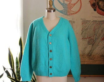 bright aqua vintage cardigan, 1950s 1960s cardigan . thick and warm womens cardigan sweater, varsity style