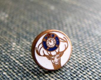 vintage Elks Lodge lapel pin . enamel BPOE tie tack . elk deer with 11th hour