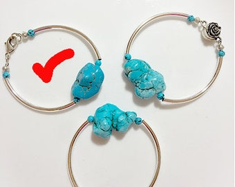 """Turquoise and Silver Curved Bar 7"""" bracelet"""